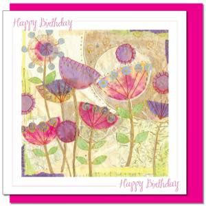 Poppies Design Birthday card (with verse) Women & Girls