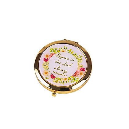 Floral Compact Mirror Rejoice In The Lord