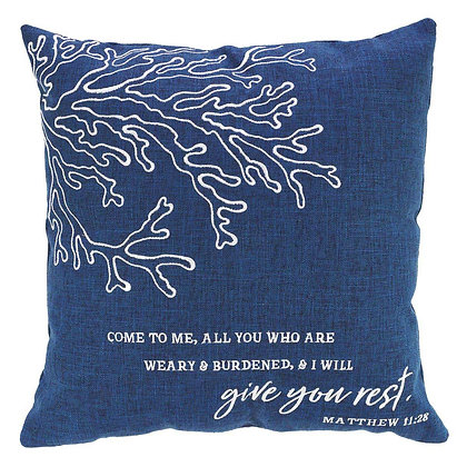 Come To Me All You Who Are Weary And I Will Give You Rest Square Pillow in Navy