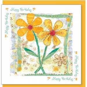 Yellow Flowers Design Birthday Card (with verse) Unisex