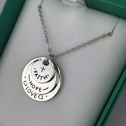 FAITH LOVE HOPE TRIPLE DISK NECKLACE