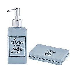 Clean Hands And Pure Heart Soap Dispenser and Dish Set