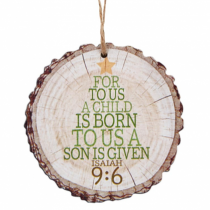For To Us A Child Is Born Christmas Tree Ornament Wood