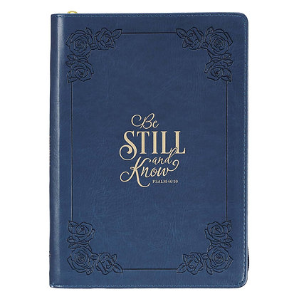 Be Still and Know Classic Faux Leather Zippered Journal in Navy Blue - Psalm 46: