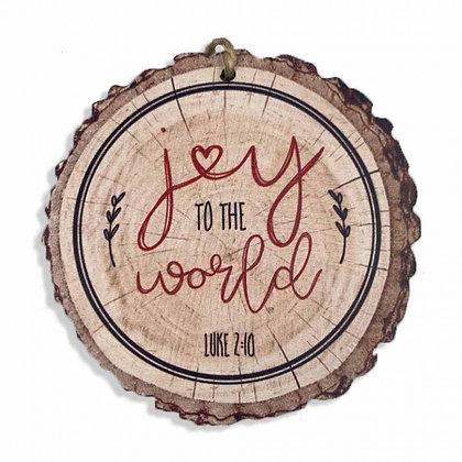 Joy To The World Wood Christmas Slice Wood Tree Ornament