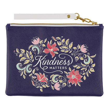 Kindness Matters Faux Leather Zippered Pouch