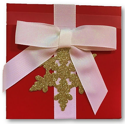 Glitter Snowflake Red Boxed Card Holder