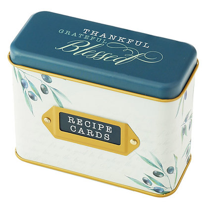 Thankful, Grateful, Blessed Recipe Box with Cards