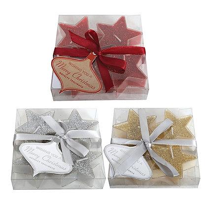 Glitter Star Tea Lights Pack Of 4