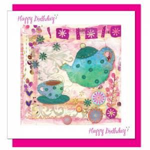 Teapot Design Birthday Card (with verse) Women & Girls