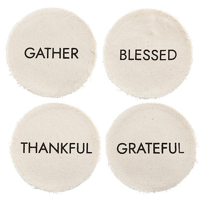 Canvas Coaster Gather, Blessed, Thankful, Greatful Pack Of 4