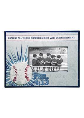 Baseball Wooden Photo Frame; Philippians 4:13 (Blue)