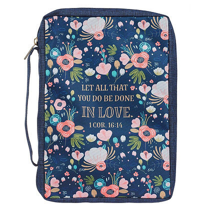 Done in Love Navy Floral Value Bible Case - 1 Corinthians 16:14