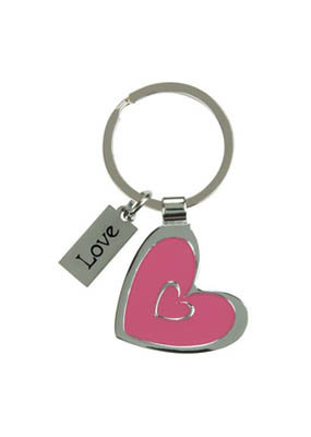 Heart Keyring with Love Charm
