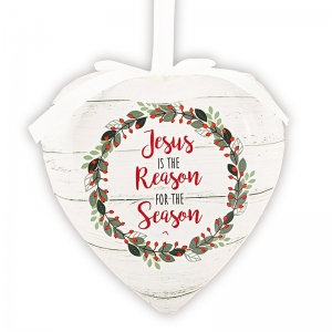 Jesus Is The Reason For The Season Heart Ornament