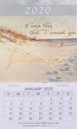Footprints Mini Magnetic Calendar 2020