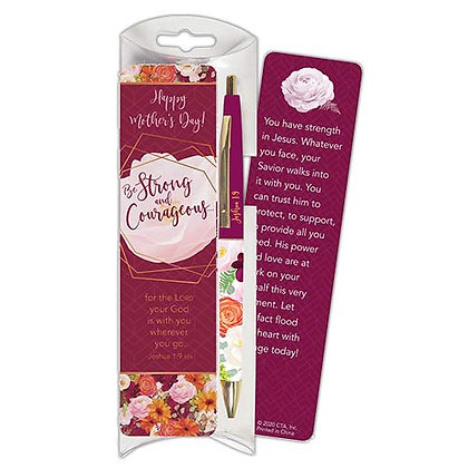 Strong And Courageous Pen And Bookmark Gift Set Mothers day