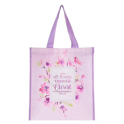 Non woven Tote Bag; All Things Through Christ - Philippians 4:13