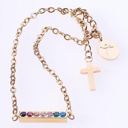 Salvation Cubic Zirconia Bar Chain BraceletHardback