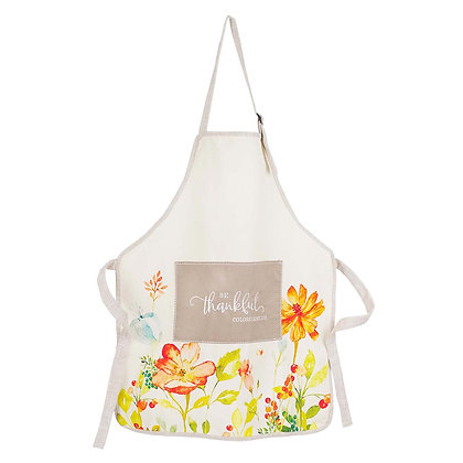 Be Thankful Floral Cotton Apron - Colossians 3:15