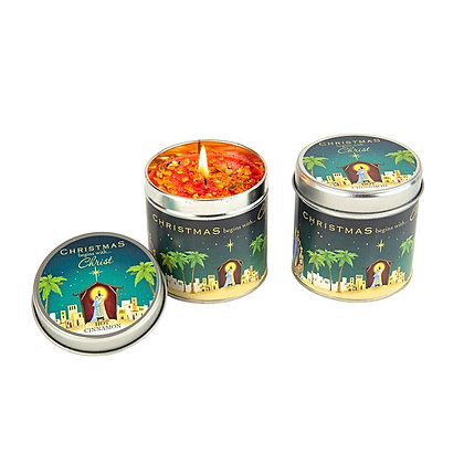 Christmas Begins with Christ Candle Tin