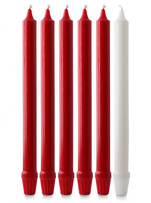 "Red & White Advent Candle Set 5 red & 1 white  with a fluted base to fit 3/4""- 1"