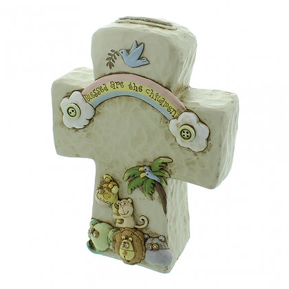 MONEY BOX CROSS: JULIANA BABY NOAH'S ART RESIN