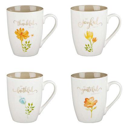 Grateful Thankful Ceramic Mug Set