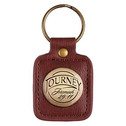 Journey - Jeremiah 29:11 Keyring in Tin Leather