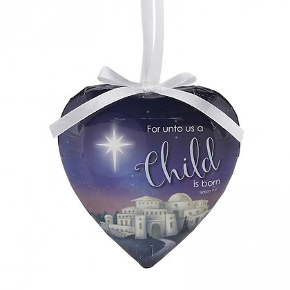 A Child Is Born Heart Decoupage Ornament Pack Of 6 Christmas Tree Decor