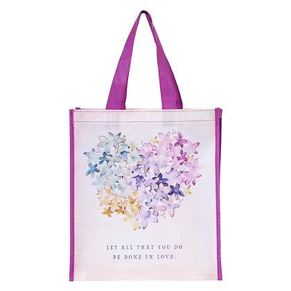 Violet Floral Heart Tote Bag - 1 Corinthians 16:14