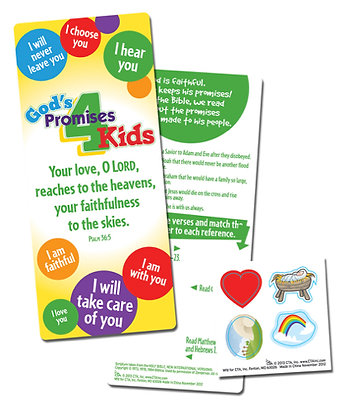 God's Promises For Kids Bookmark And Stickers Pack Of 6