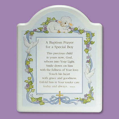 "BAPTISM PRAYER"" PLAQUE - BLUE AND PINK"