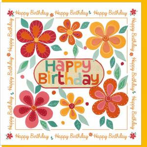 Orange Flowers Design Birthday Card [with verse]