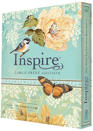 NLT Inspire Bible Large Print, Tranquil Blue: Creative Journaling Bible