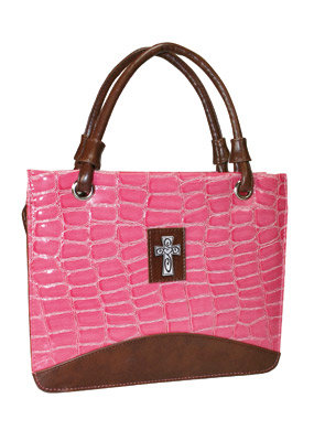 Cross (Pink) Croc-Embosse Purse Style Bible Cover- Medium  Price and Purchase
