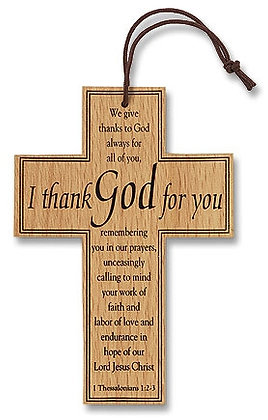 CB I THANK GOD FOR YOU WOODEN CROSS