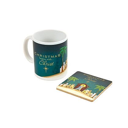 Christmas Begins with Christ Mug & Coaster