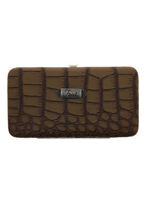 Clutch Wallet: Faith - Brown Croc