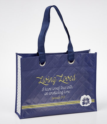 Women Of God : Living Loved Laminated Tote Bag ( Mothers day )