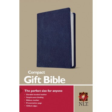 NLT Compact Gift Bible Navy Leather Ribbon Marker EAN 9781496433497