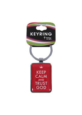 Keep Calm And Trust God Metal Keyring Reassuring Gift and Colourful Witness