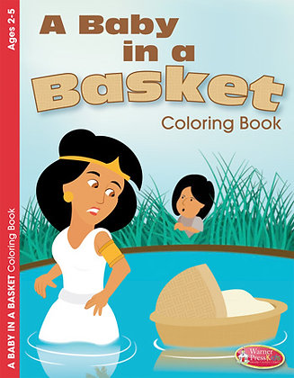A BABY IN A BASKET COLOURING BOOK