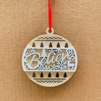 Believe Christmas Tree Ornament Pack Of 6