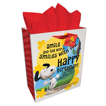 Smiles And The World Smiles With You Gift Bag: Peanuts (L) Snoopy