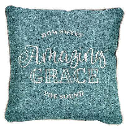 Amazing Grace How Sweet Thy Sound Embroidered Square Pillow