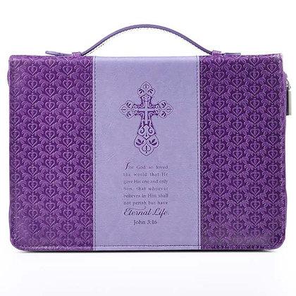 Eternal Life in two-tone purple John 3:16 Bible Cover