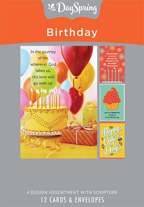 Birthday - Celebrating You - 12 Boxed Cards