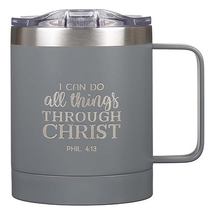I Can Do All Things Camp Style Stainless Steel Mug in Gray - Philippians 3:14