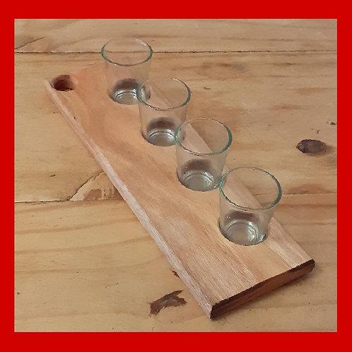 Tábua de shot com 4 copos